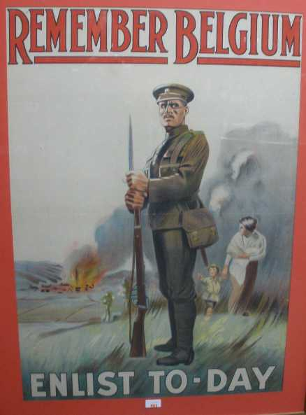 british recruiting poster 'remember belgium enlist to-day""